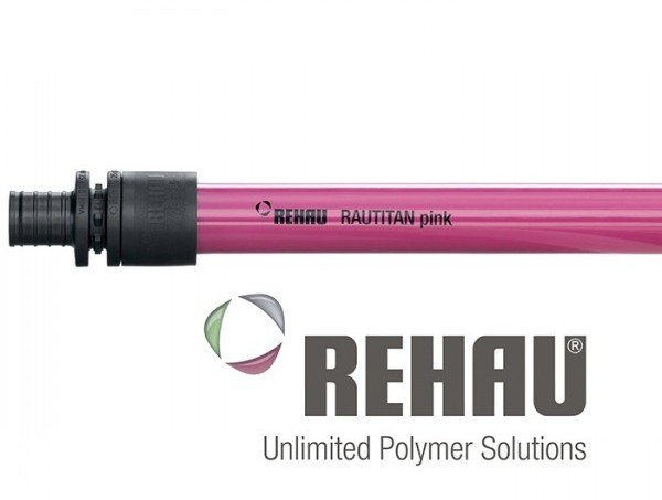 Rehau pink hydronic heating pipe
