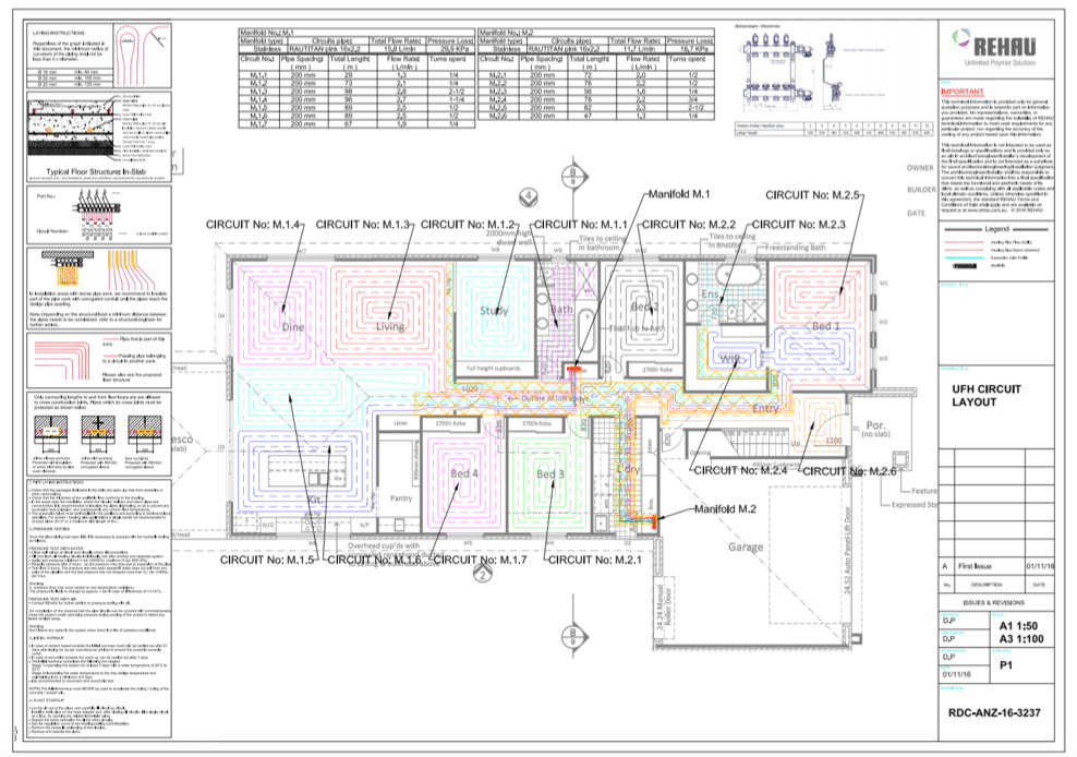 Hydronic heating floor layout designs create a plan that suits the project.