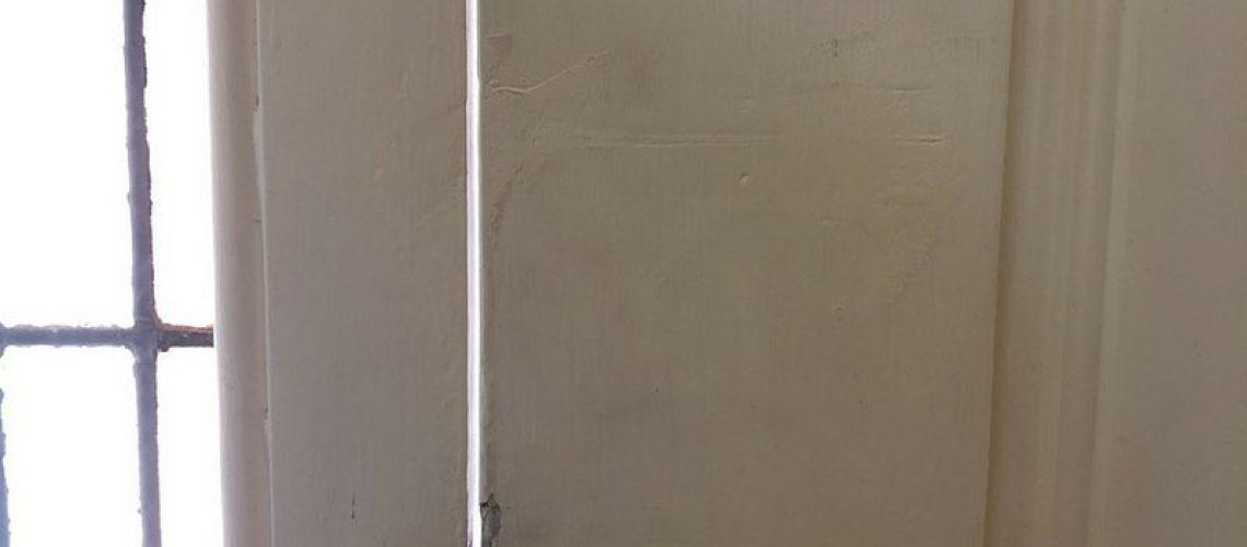 Door with gap air leaks in a leaky home